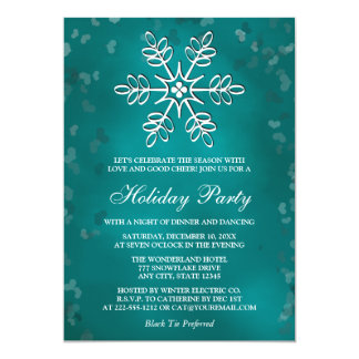 Teal Snowflake Holiday Party Invitations