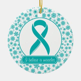 Teal Snowflake Ovarian Cancer Ornament