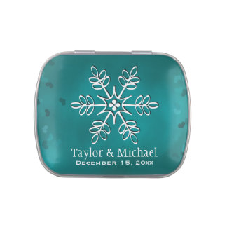 Teal Snowflake Candy Tins