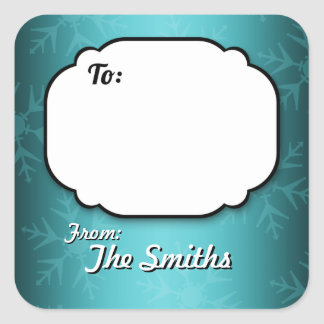 Teal Snowflakes Personalised Gift Tag stickers