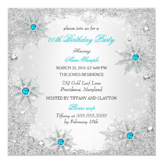 Teal Snowflakes Winter Wonderland Birthday Party 13 Cm X 13 Cm Square Invitation Card