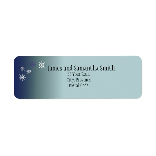 Teal Snowy Return Address Labels