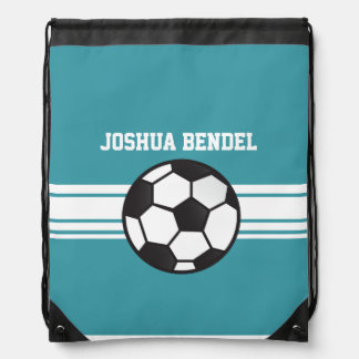 Teal Soccer Stripes Drawstring Bag
