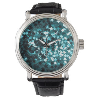 Teal Sparkly Stars Watch