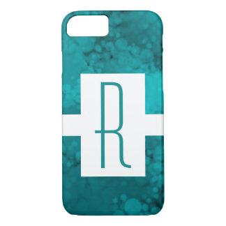 Teal Speckled Monogram iPhone 8/7 Case