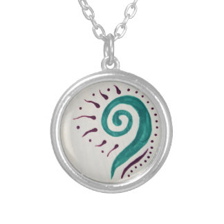 Teal Spiral Silver Plated Necklace
