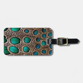 Teal Spotted pheasant feather Bag Tag