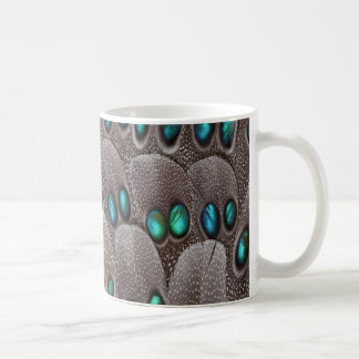 Teal spotted pheasant feather coffee mug