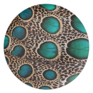 Teal Spotted pheasant feather Party Plate