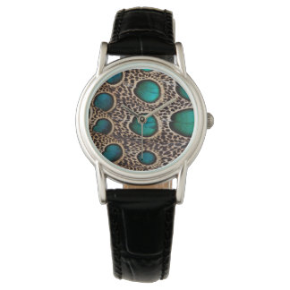 Teal Spotted pheasant feather Watch