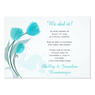 Teal Spring Watercolor Tulips Reception Only 13 Cm X 18 Cm Invitation Card