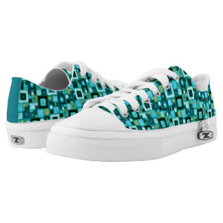 Teal Squares Pattern Low Top Shoes