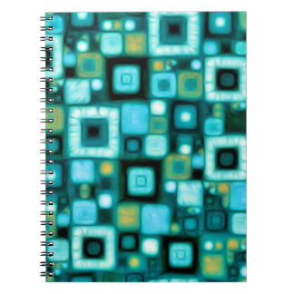 Teal Squares Pattern Notebook
