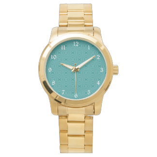Teal Squiggly Squares Wristwatch