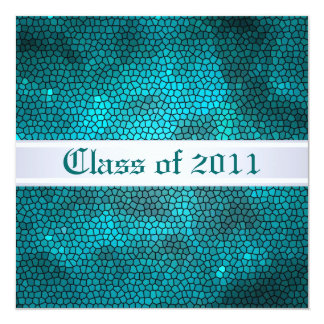 Teal Stained Glass Class of Graduation Invitation