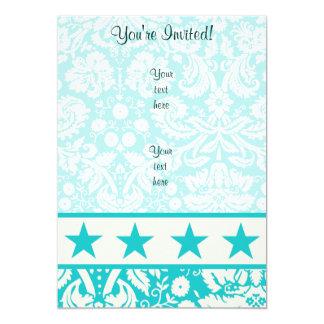 Teal Star 13 Cm X 18 Cm Invitation Card
