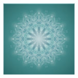 Teal Star Mandala Abstract Poster