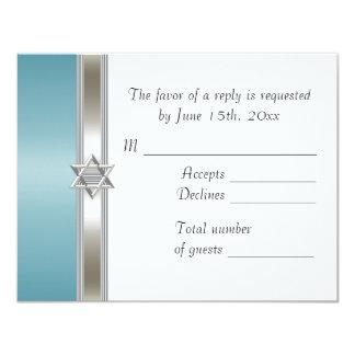 Teal Star of David RSVP Card