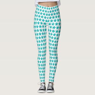 Teal star patterned leggings