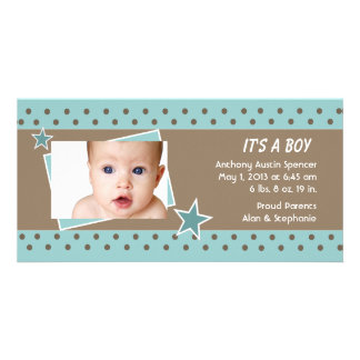 Teal Star Photo Birth Announcement Personalized Photo Card