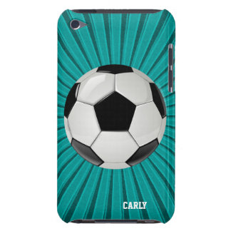 Teal Starburst Soccer Ball Custom iPod Touch Case