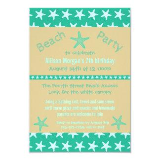 Teal Starfish Beach - 3x5Birthday Party Invitation