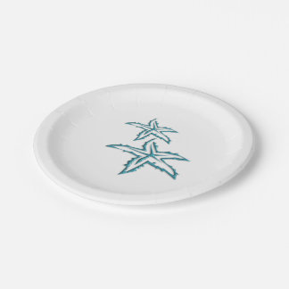 Teal Starfish Paper Plate