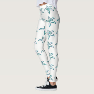 Teal Starfish White Leggings