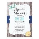 Teal Starfish Wood Background Beach Bridal Shower Invite