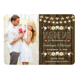 Teal String of Lights Fall Rustic Save the Date 13 Cm X 18 Cm Invitation Card