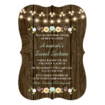 Teal String of Lights Rustic Sweet 16 13 Cm X 18 Cm Invitation Card
