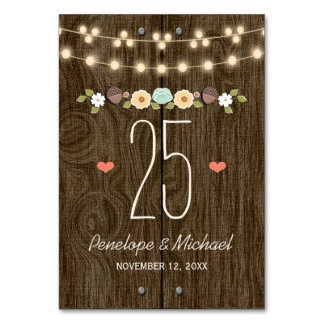Teal String of Lights Rustic Wedding Table Number Table Card