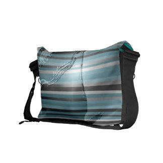 Teal Stripe Emboss Latex Messenger Bag