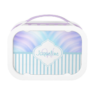 Teal Stripe Lavender Monogram Lunch Box