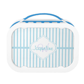 Teal Stripe Monogram Lunch Box