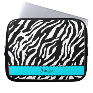 Teal Stripe With Black And White Zebra Pattern Laptop Sleeve