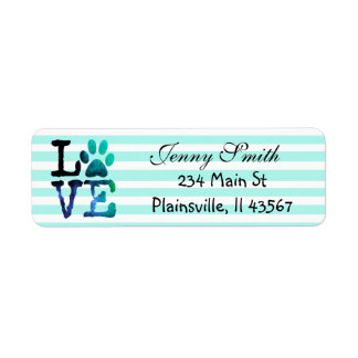 Teal Striped Love Paw Print Return Address Label