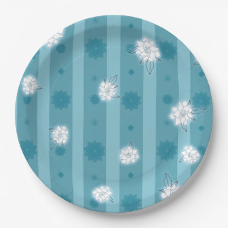 Teal stripes and flowers on paper plates