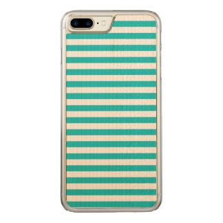 Teal Stripes Carved iPhone 8 Plus/7 Plus Case