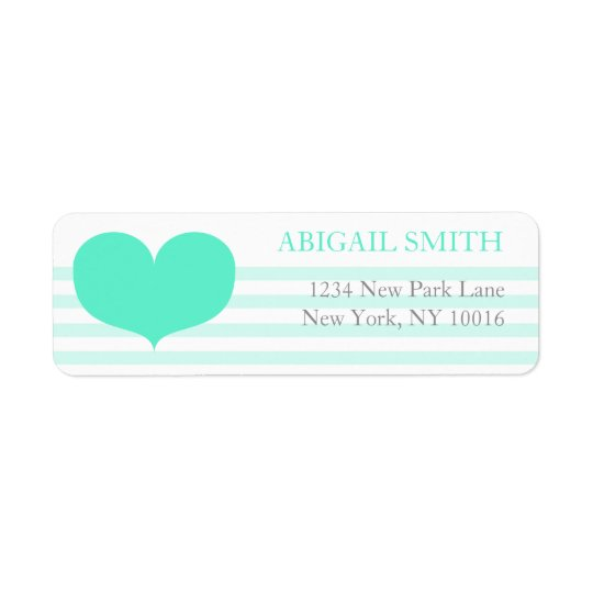 Teal Stripes & Heart - Return Address Labels
