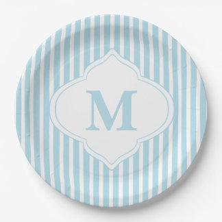 Teal Stripes Monogram Paper Plate
