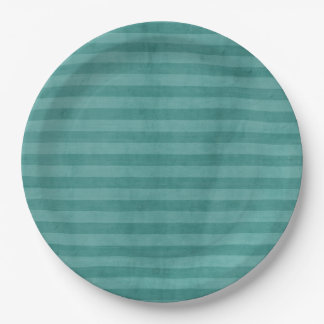 Teal Stripped Paper Plate