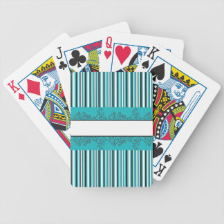 Teal Strips and Curls to Personalize Bicycle Playing Cards