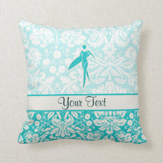 Teal Surfing Girl Cushion