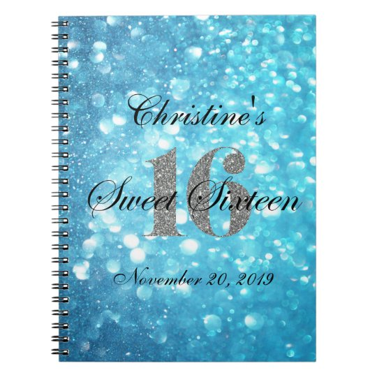 Teal Sweet 16 Silver Glitter Custom Guest Book
