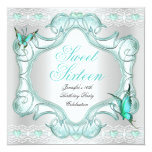 Teal Sweet Sixteen 16 Party White Butterfly 13 Cm X 13 Cm Square Invitation Card