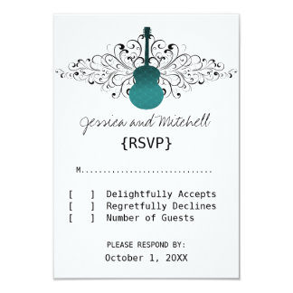 Teal Swirls Guitar Response Card 9 Cm X 13 Cm Invitation Card