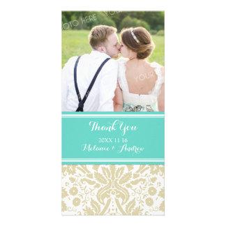 Teal Tan Damask Thank You Wedding Photo Cards