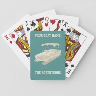 Teal & Tan Pontoon Boat Personalised Cards
