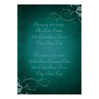Teal & Teal Scroll Guest Info Business Card